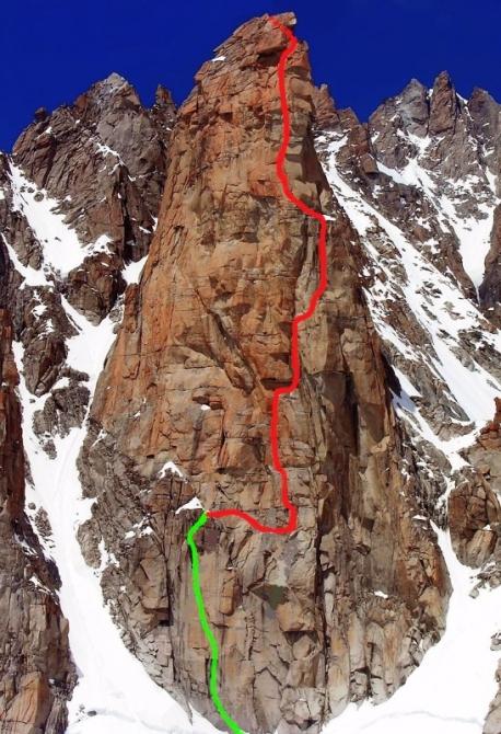 Комбинация маршрутов Elixier d'Astaroth и Bonatti Route, ЮВ стена в. Гранд Капуцин