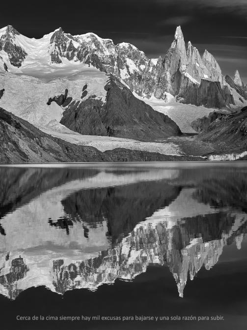 Около вершины всегда есть тысяча оправданий, чтобы уйти и только одна причина, чтобы подняться. (Альпинизм)