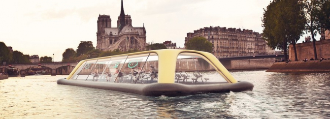 Плавающий фитнес-зал в Париже (тренажеры)