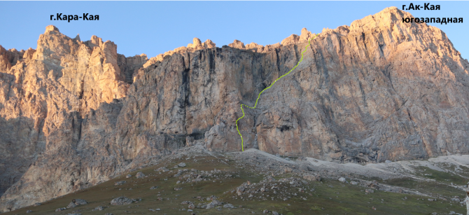 Новый маршрут на г.Ак-Кая , Скалистый хр., Северный Кавказ, район Безенги. (Альпинизм, альпинизм)