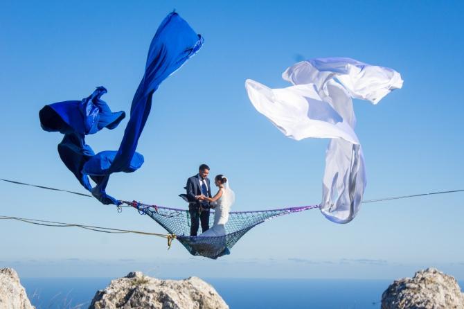 Нeбeснaя свадьба (Слэклайн, хайлайн, слэклайн, горы, крым, slackline)