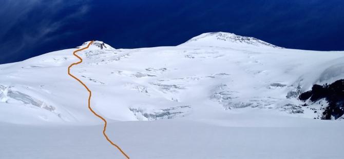 Красивая лыжная линия на Эльбрусе (Альпинизм)