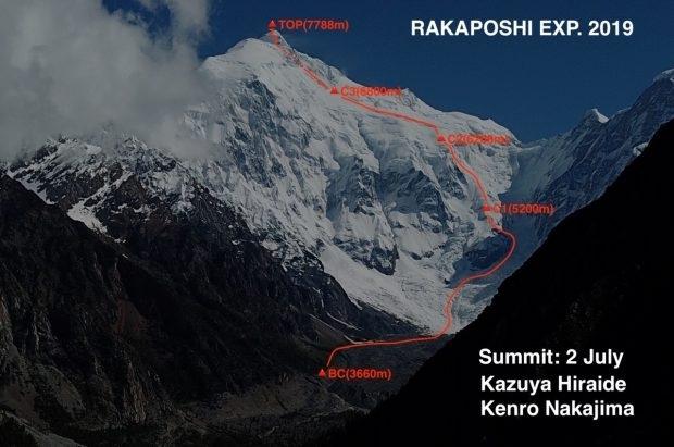 Первопрохождение японцев по южной стене Ракапоши (7788 м, Альпинизм, Казуйа Хираиде и Кенро Накаджима)